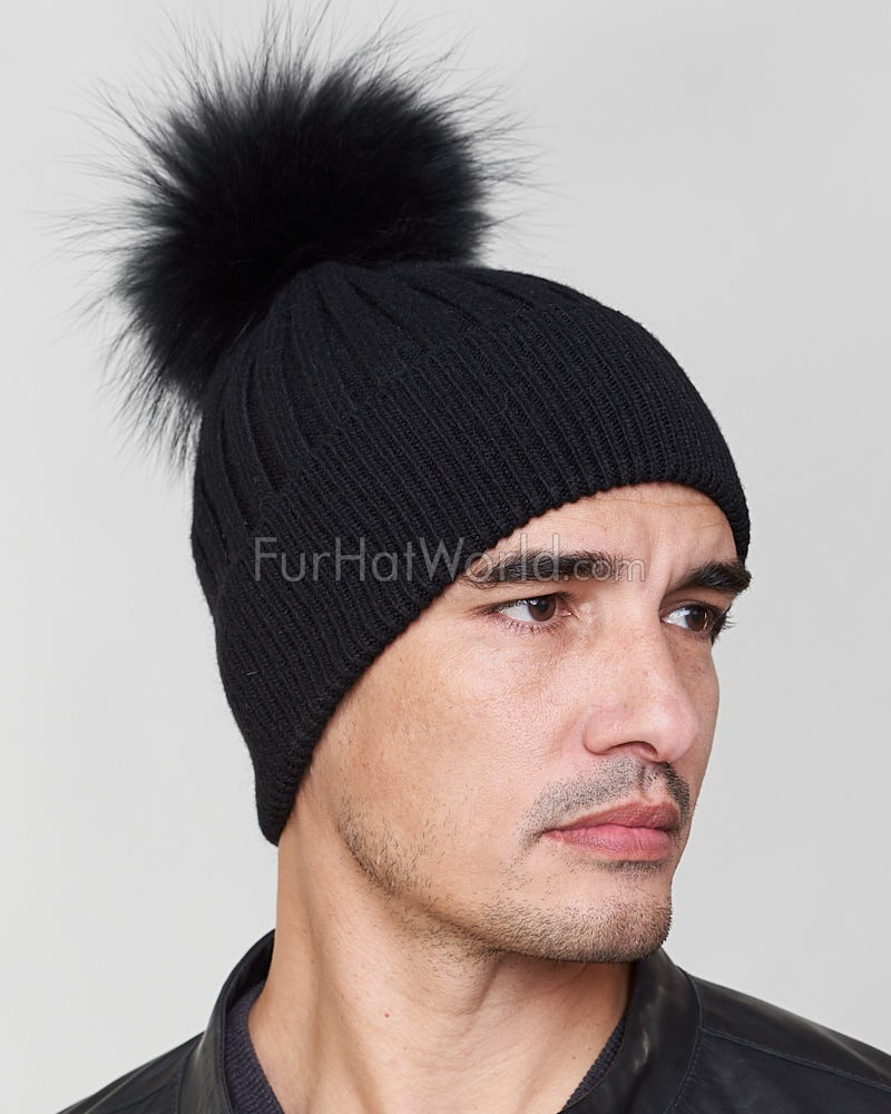 Rocco Knit Beanie Hat with Finn Raccoon in Black for Men