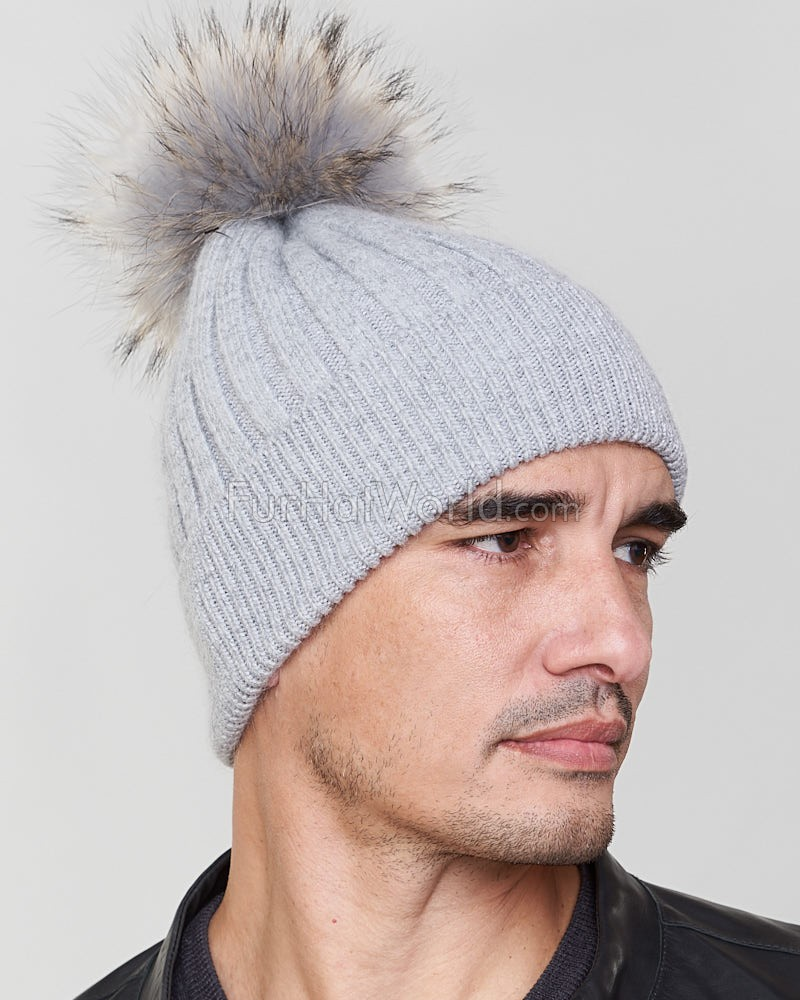 Rocco Knit Beanie Hat with Finn Raccoon in Grey for Men