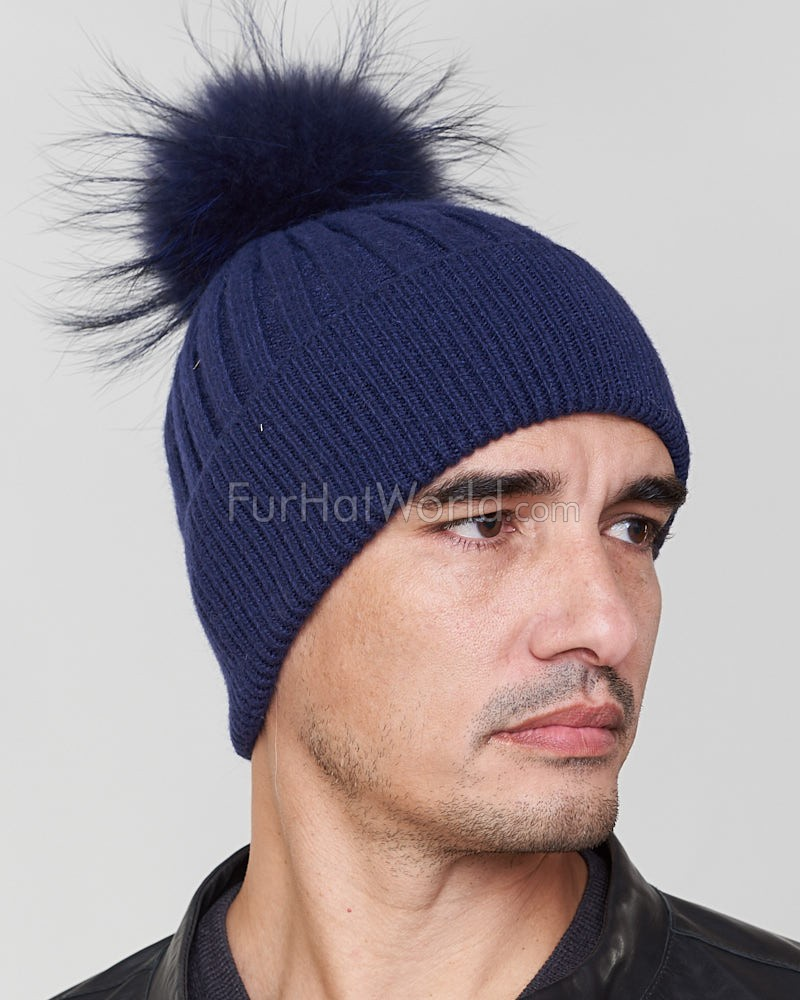Rocco Knit Beanie Hat with Finn Raccoon in Navy for Men