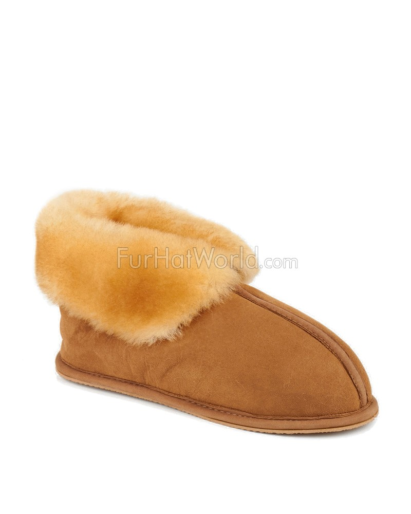 ecbf49347b48a Sheepskin Cabin Slippers with Soft Rubber Sole