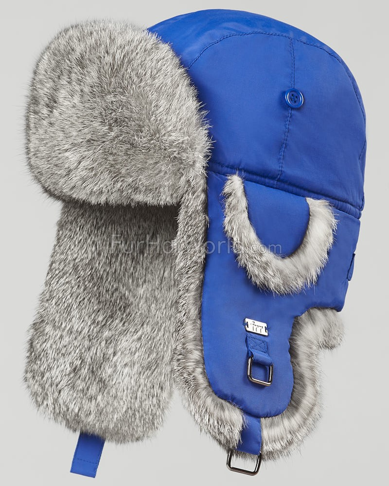 Royal Blue B-52 Aviator Hat with Grey Rabbit Fur for Men