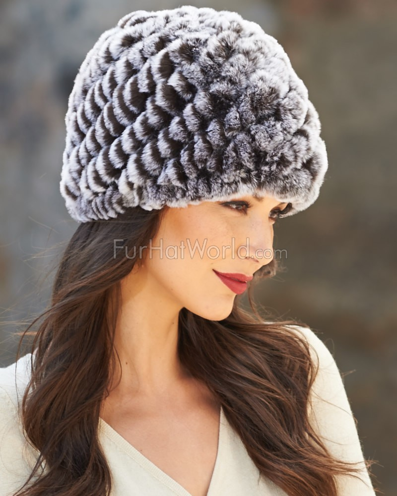 Hailey Knit Rex Rabbit Fur Beanie Hat in Black Frost
