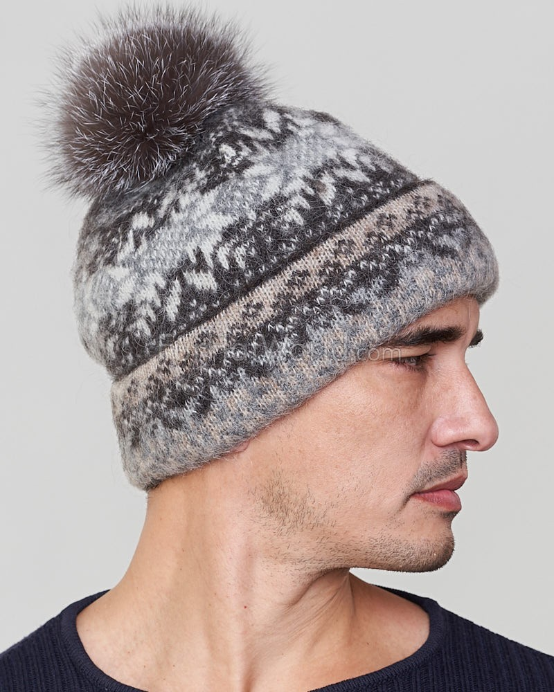 Santiago Wool Beanie Hat with Silver Fox for Men  FurHatWorld.com 3699c44e8c3