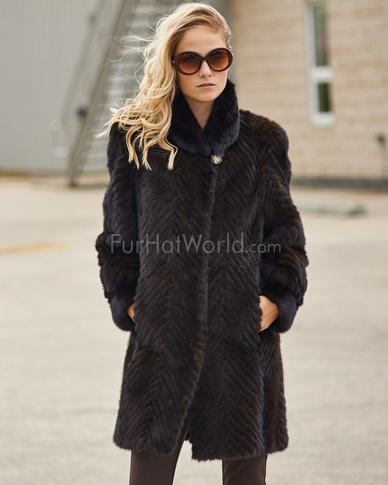 Anastasia Mahogany Sculpted Mink 3/4 Length Coat