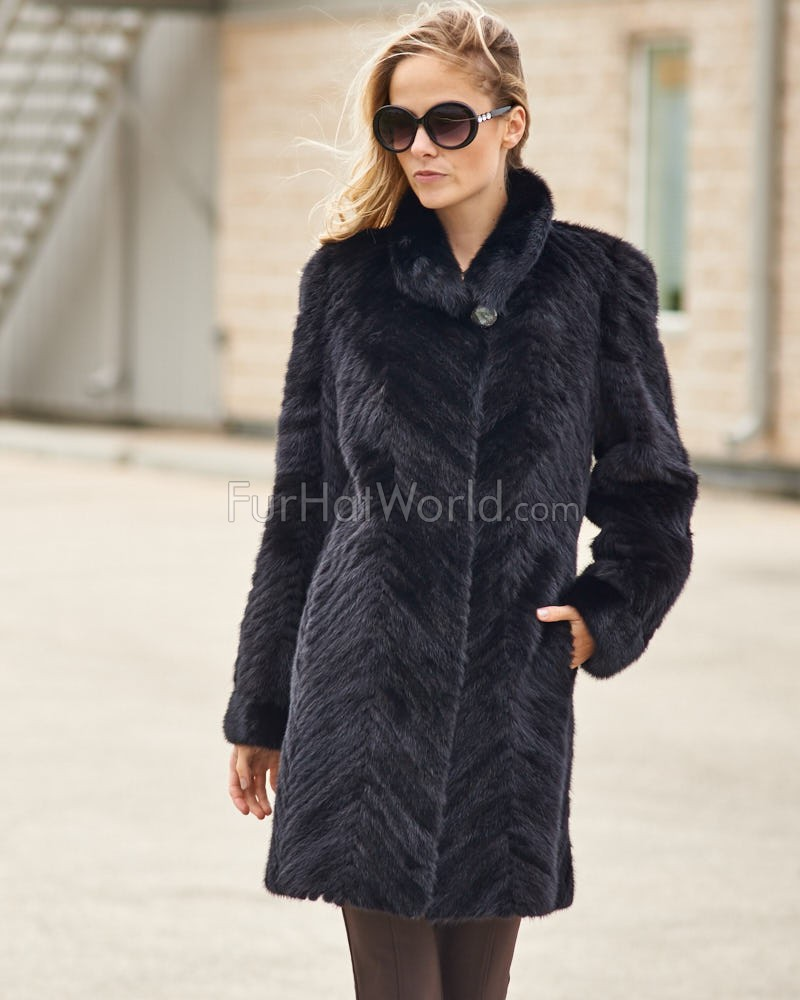 Anastasia Black Sculpted Mink 3/4 Length Coat