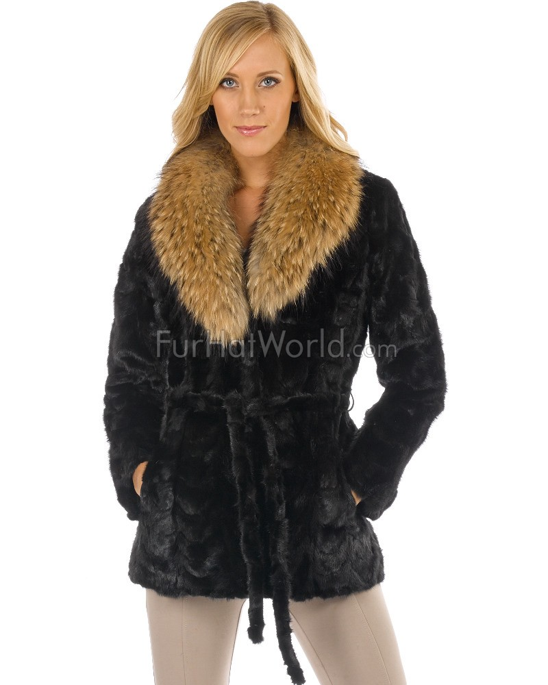 Sculptured Mink Coat with Raccoon Collar - Black