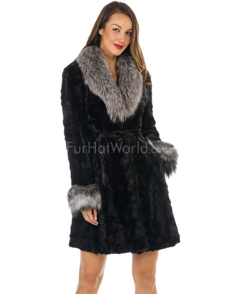 Lila Sculptured Mink Coat with Silver Fox Fur Collar: FurHatWorld.com