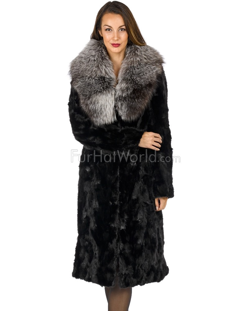 Sculptured Mink Fur Coat with Silver Fox Fur Collar - Black
