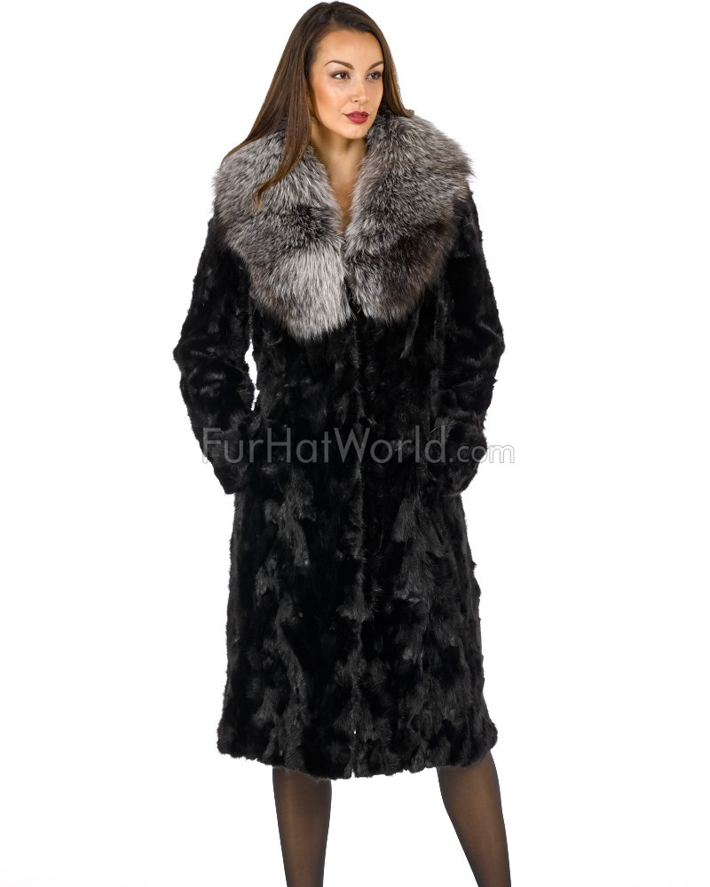 Renee Sculpted Mink Coat with Silver Fox Fur Collar in Black