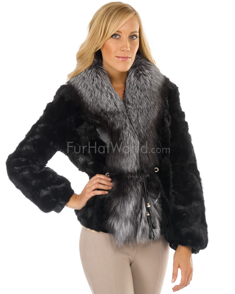 Sculptured Mink Fur Jacket with Silver Fox Fur Collar