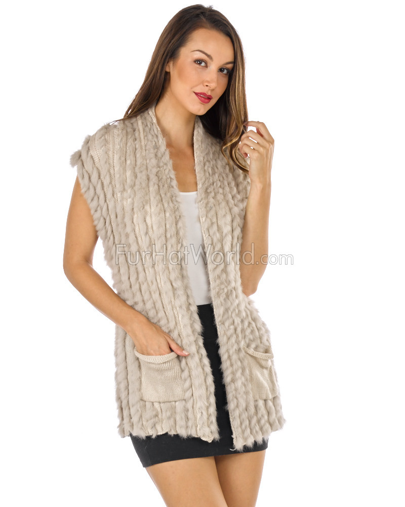 Layla Knit Rabbit Fur Vest with Shawl Collar & Belt in Beige