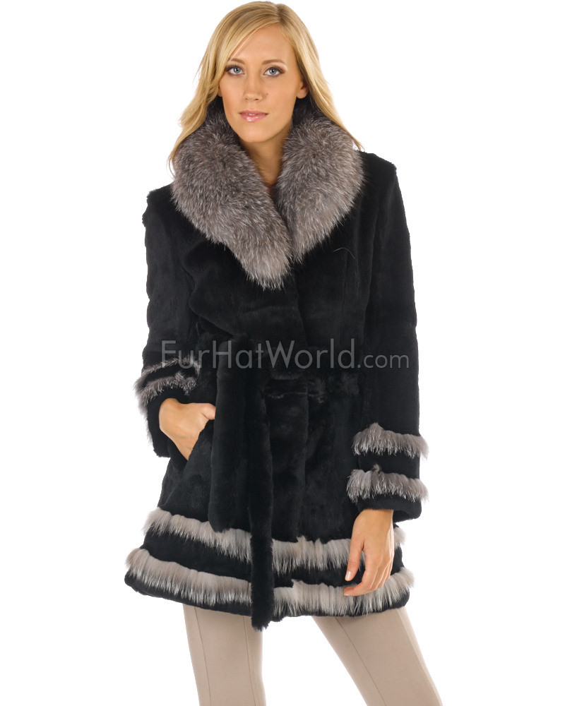 Sheared Rabbit Fur Coat with Silver Fox Fur Trim