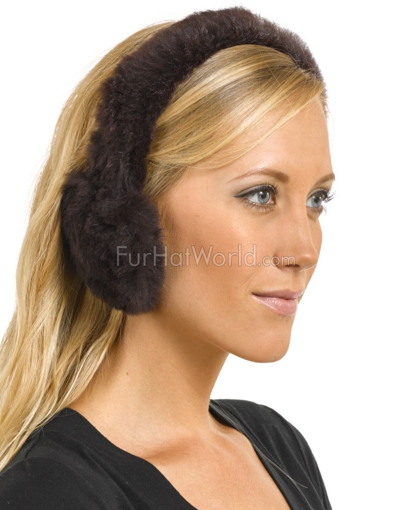 Sheared Rabbit Fur Earmuffs in Brown