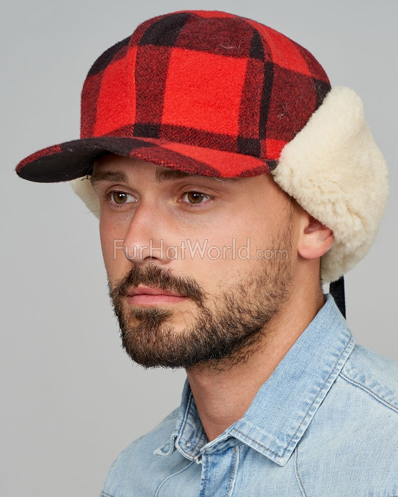 Shearling Sheepskin Buffalo Check Fudd Hat - Red/Black for Men