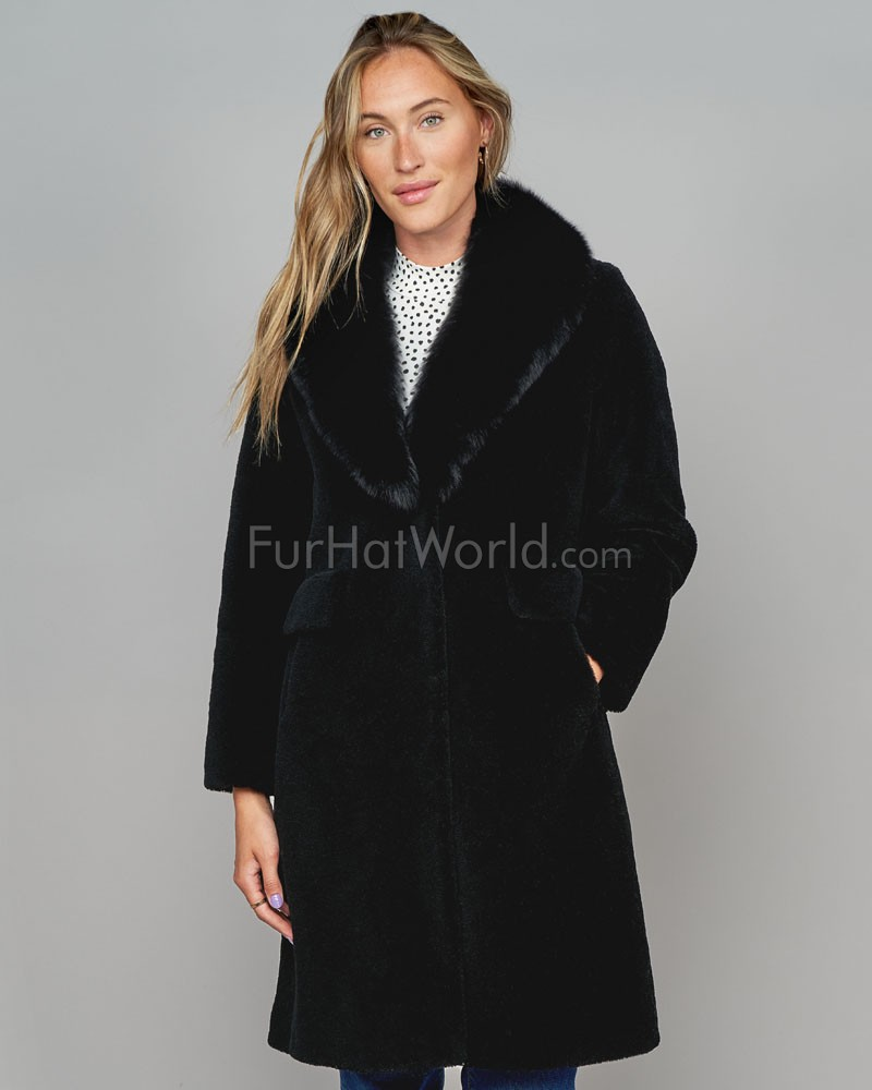 Shearling Sheepskin Coat with Fox Collar in Black