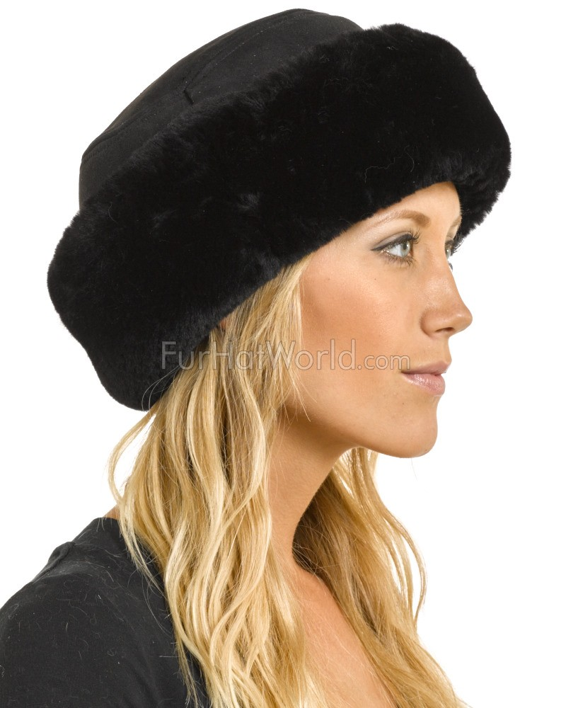 8053b9fb237dce The Kelowna Shearling Sheepskin Hat in Black: FurHatWorld.com
