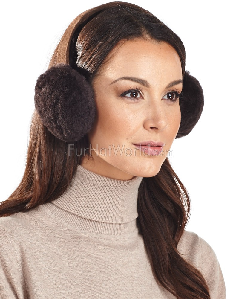 Shearling Sheepskin Earmuffs - Chocolate