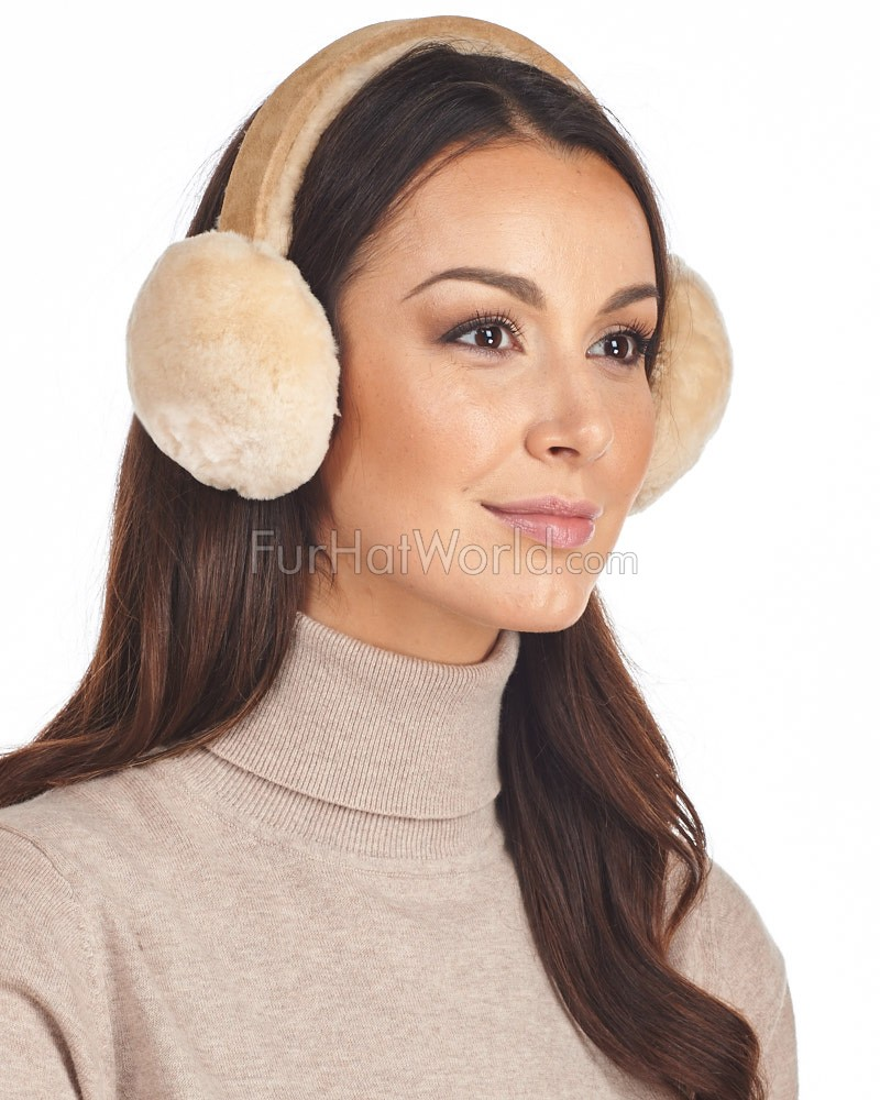 Shearling Sheepskin Tan Earmuffs