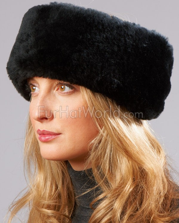 Shearling Sheepskin Headband with Ties in Black