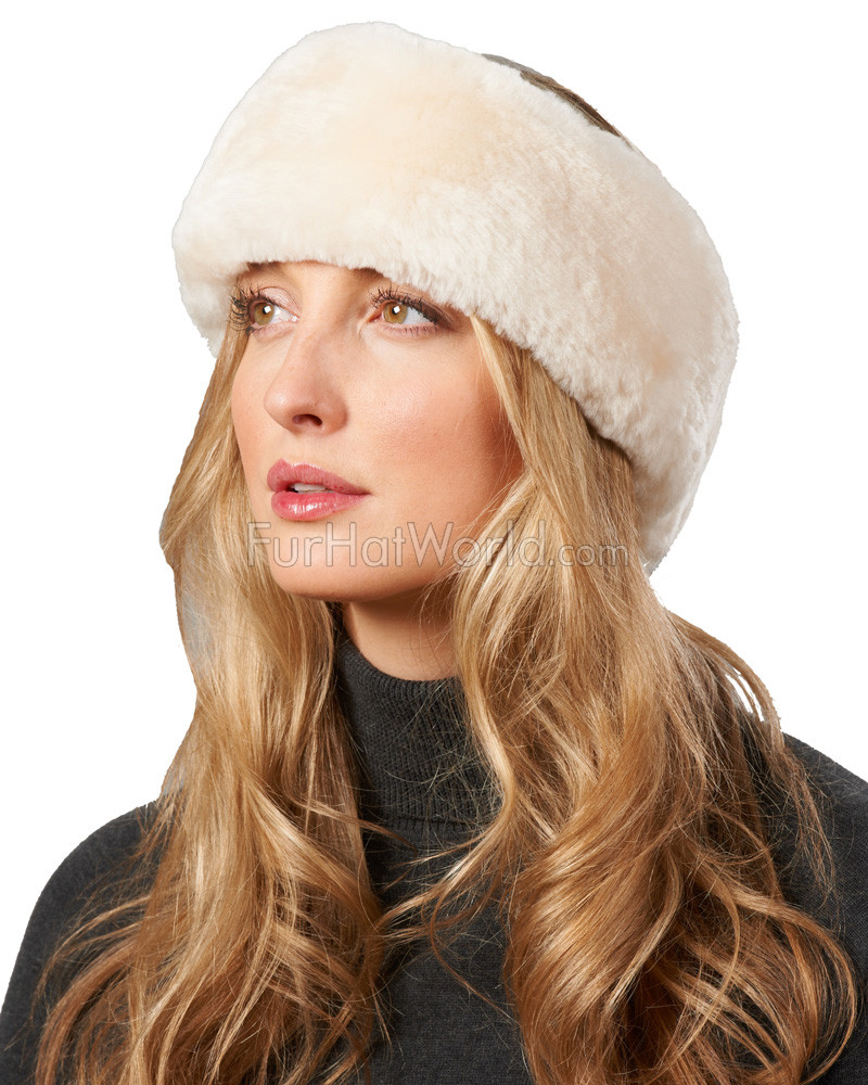 Shearling Sheepskin Headband with Ties in Sand