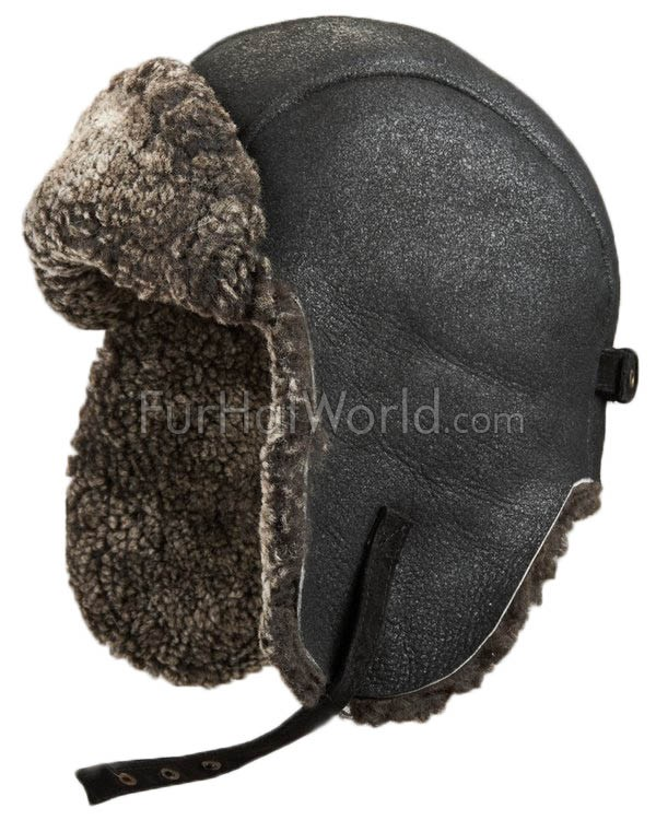 Ultimate Shearling Sheepskin Pilot Hat - Black
