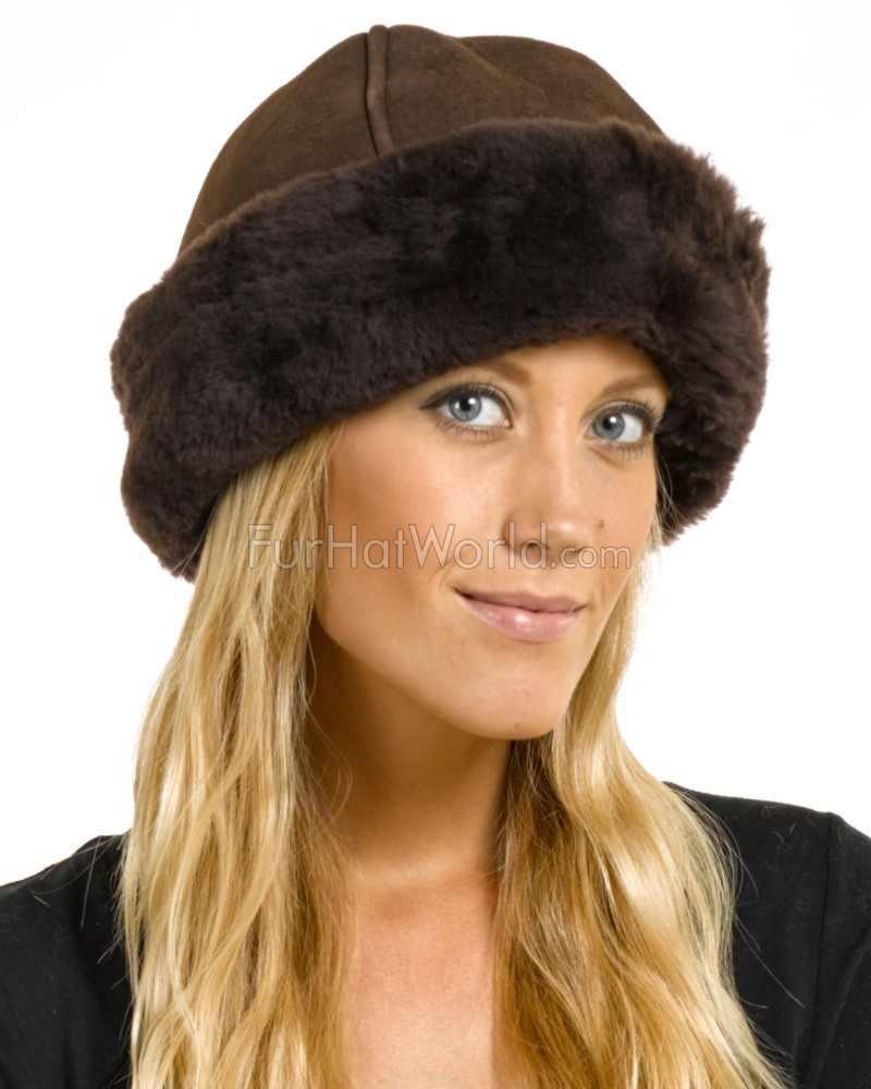 fdc224672d5058 The Olie Shearling Sheepskin Hat in Brown: FurHatWorld.com