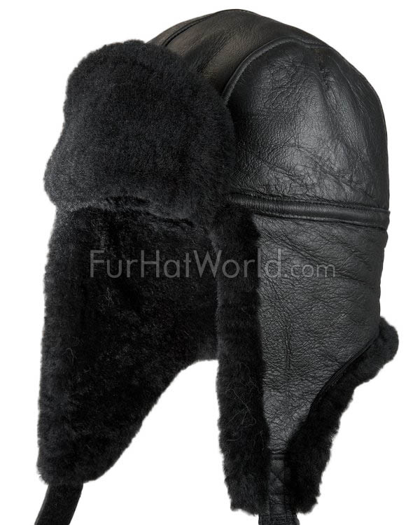 Shearling Sheepskin Trapper Hat - Black Napa