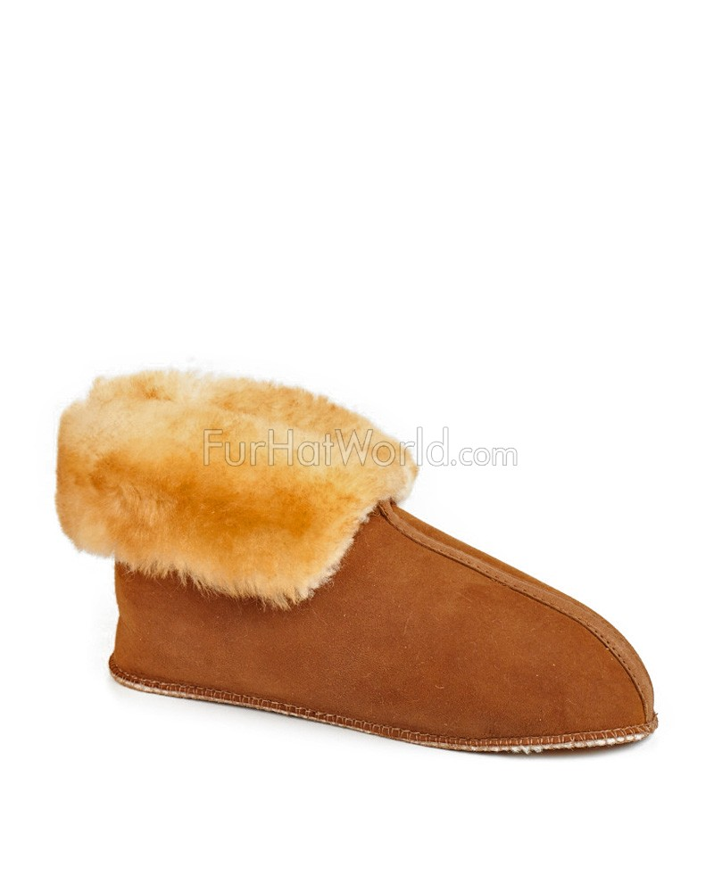 0d21d233b25 Sheepskin Slippers with Roll up Cuff and Soft Sole