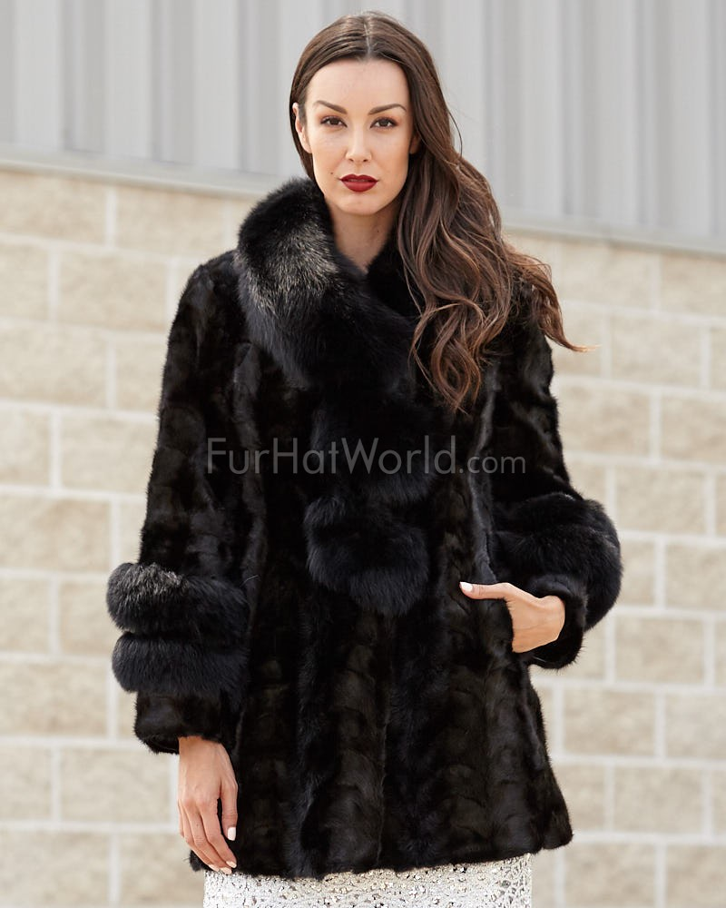 Shiloh Black Mink Coat with Fox Collar & Trim