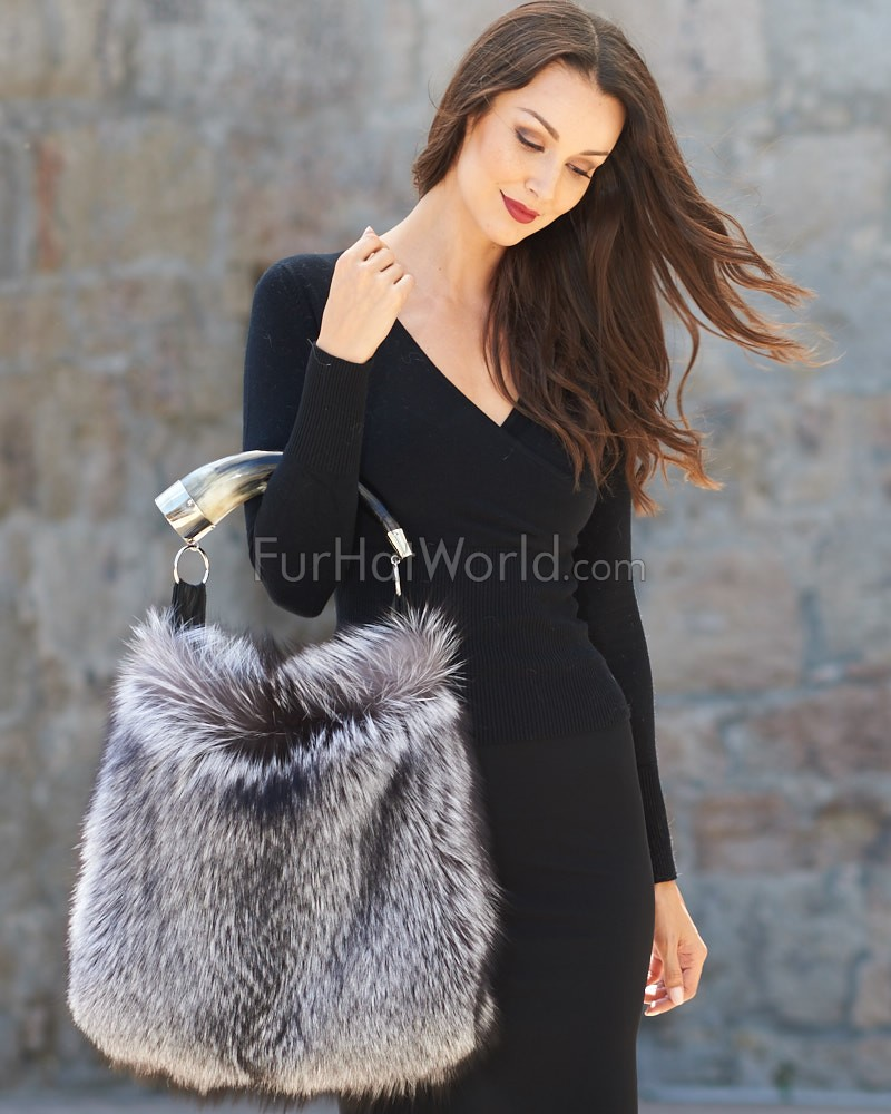 Dominique Silver Fox Fur Purse with Horn Handle