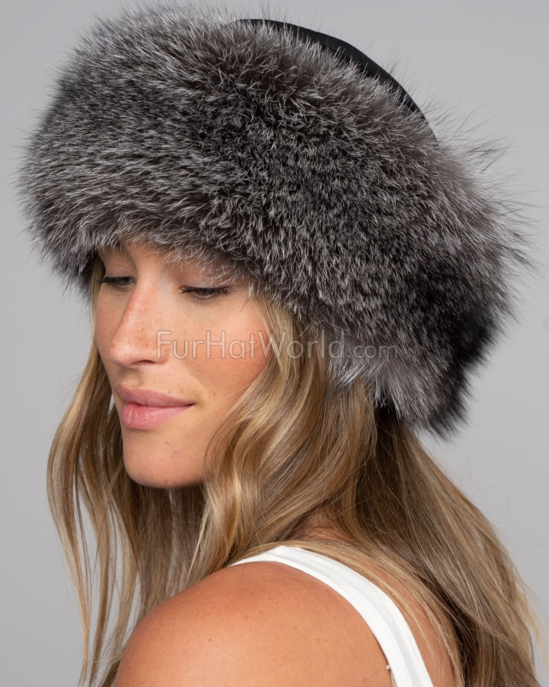 Silver Fox Fur Roller Hat with Leather Top