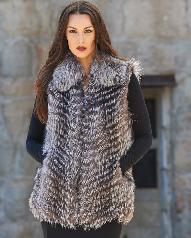 Silver Fox Fur Vest with Collar