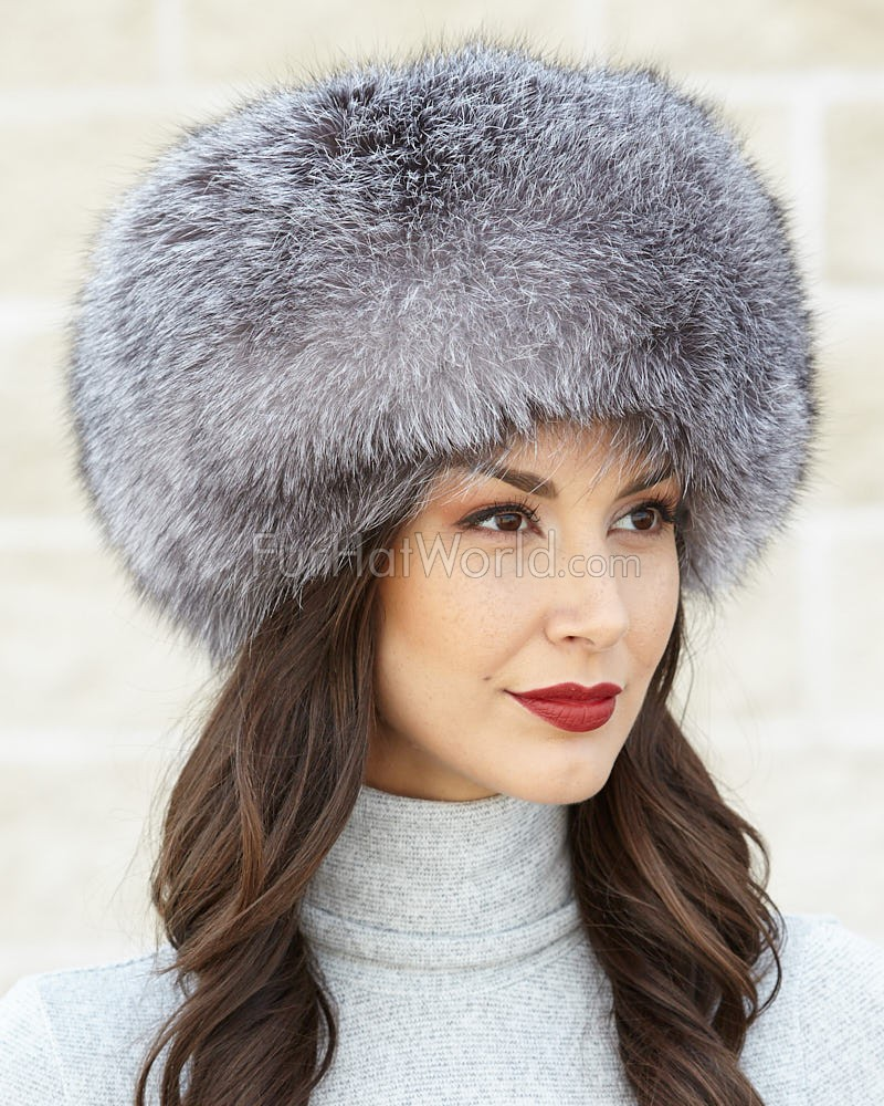 Silver Indigo Fox All Fur Zhivago Pill Box Fur Hat