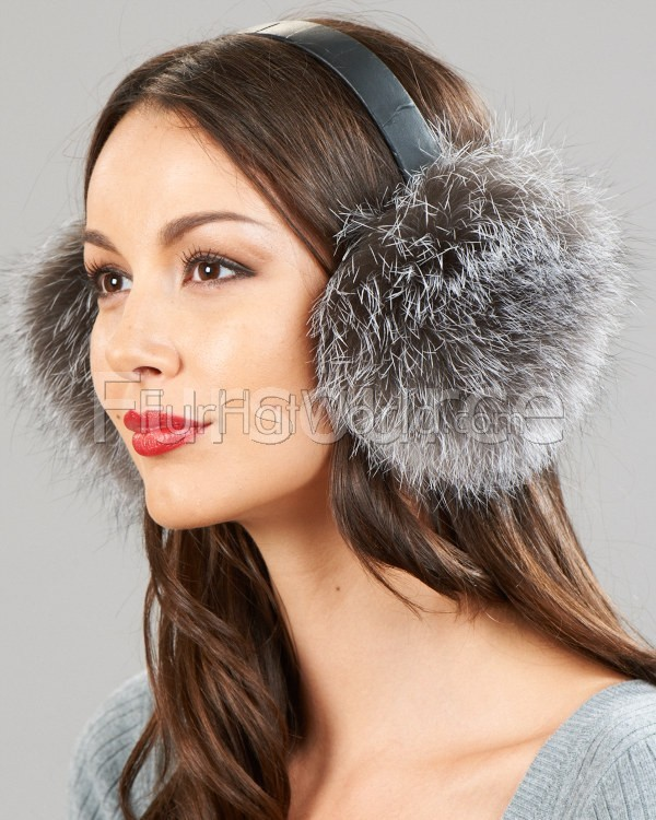 Silver Indigo Fox Fur Ear Muffs with Leather Band