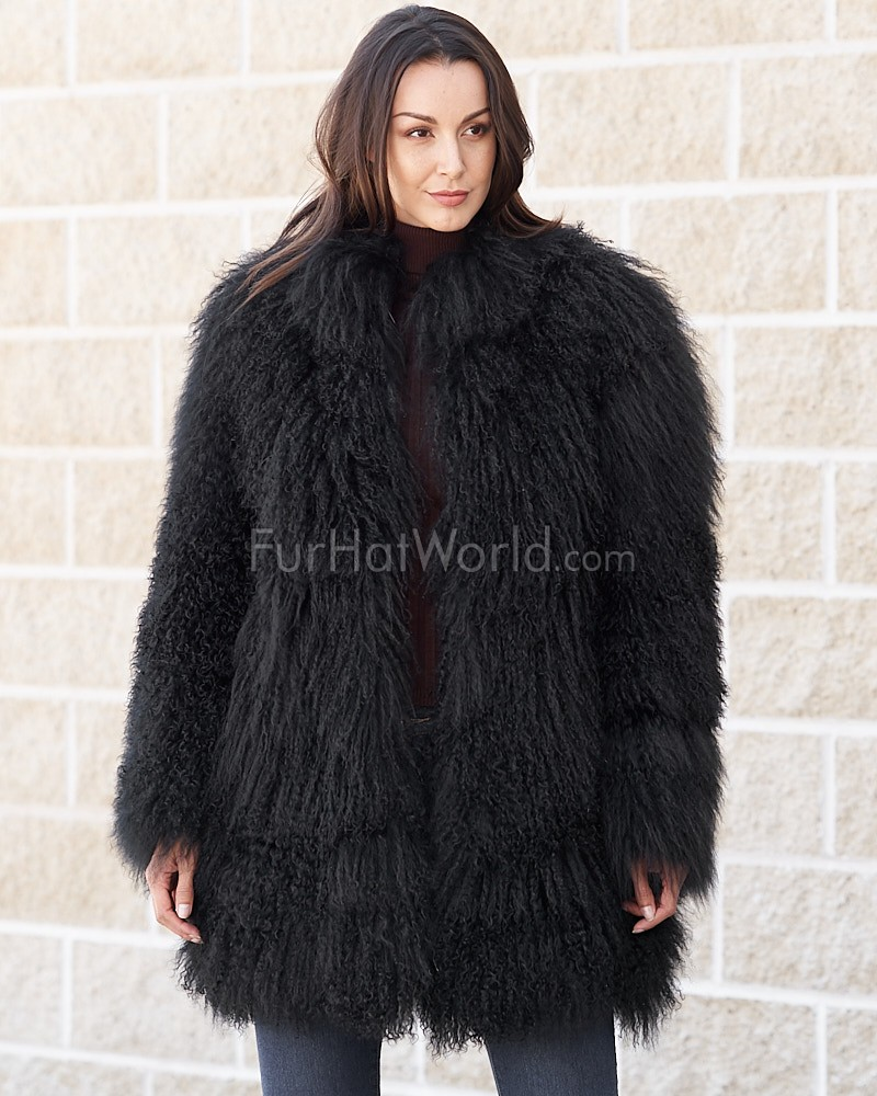 86b4a76b1f1 Simone Black Mongolian Lamb Fur Jacket  FurHatWorld.com