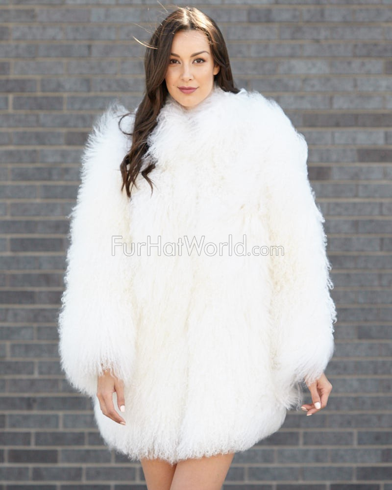 Simone White Mongolian Lamb Fur Jacket: FurHatWorld.com