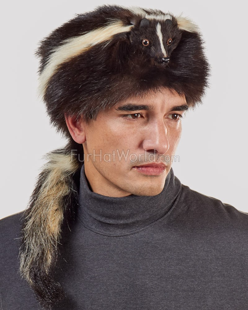 Skunk Fur Davy Crockett Hat for Men