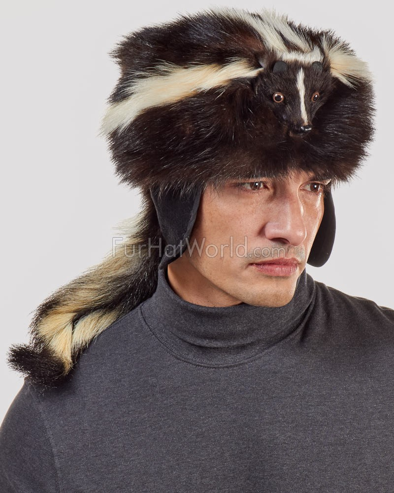 Coonskin Hat: Skunk Fur Davy Crockett Hat For Men: FurHatWorld.com