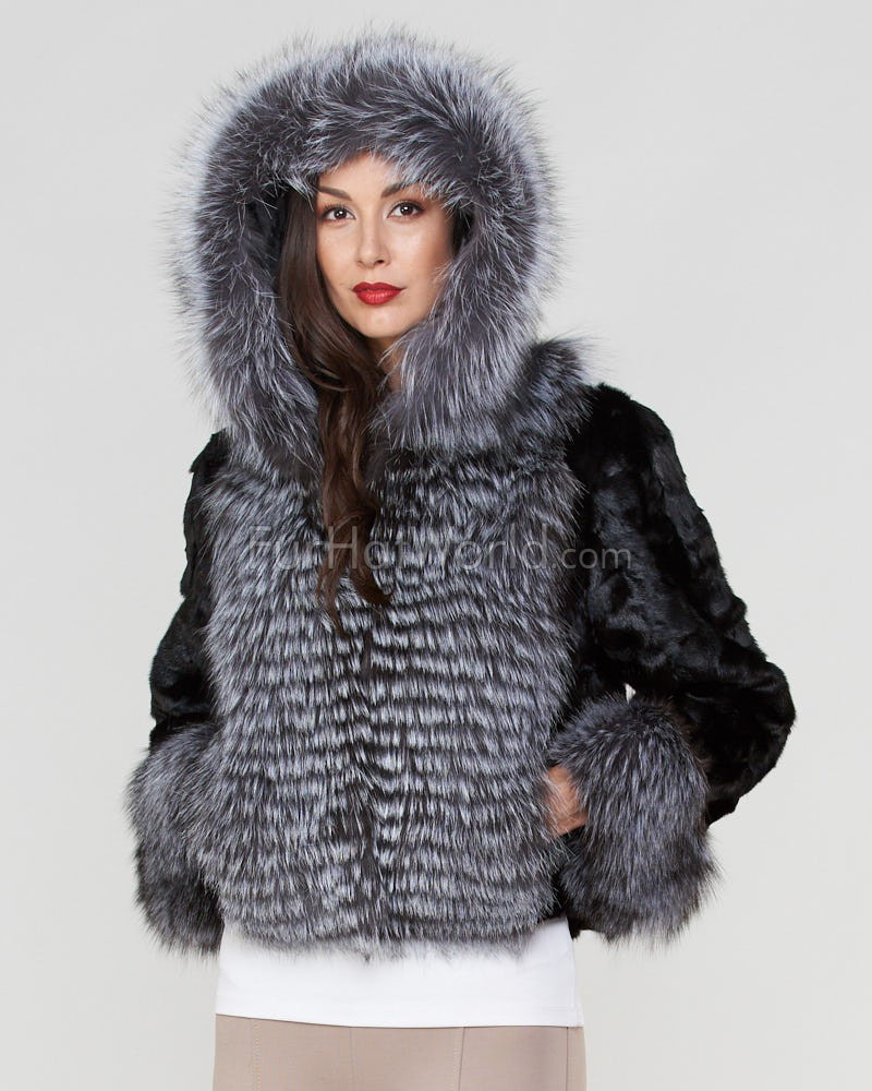 Charlie Sculpted Mink Fur Hooded Jacket with Silver Fox Trim