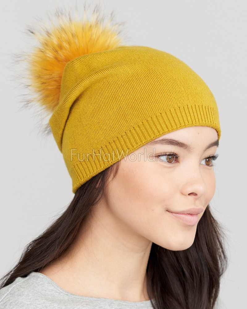 The Lyric Slouchy Knit Beanie with Finn Raccoon Pom Pom in Mustard