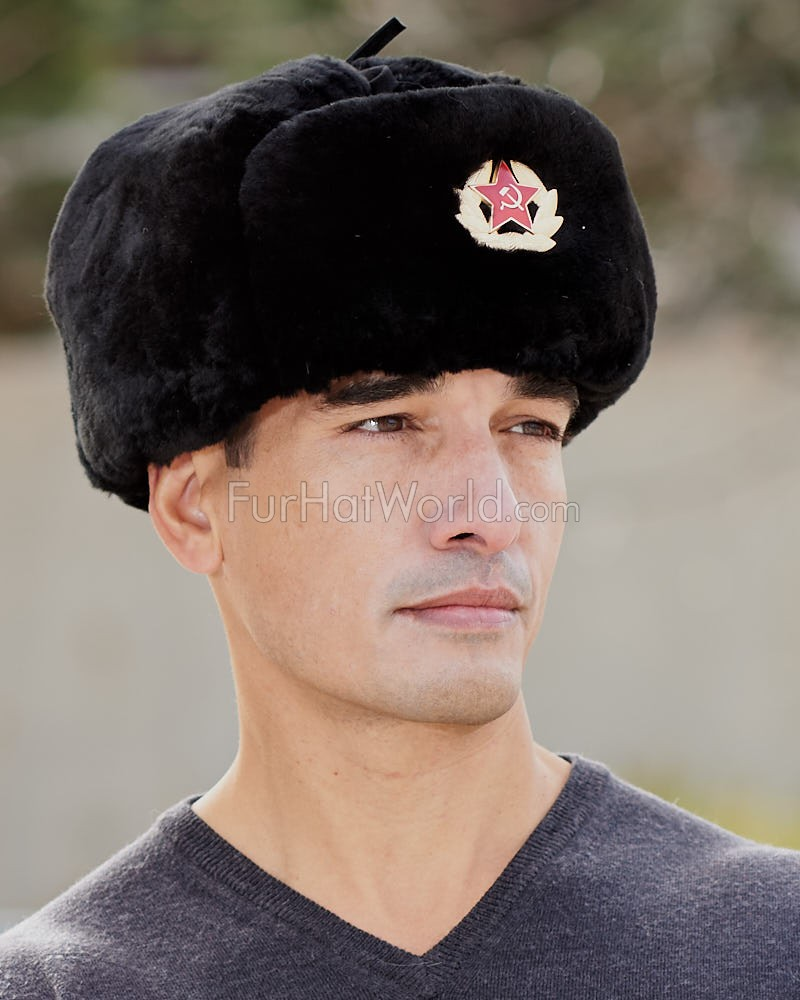 Black Mouton Sheepskin Russian Ushanka Hat with Badge for Men 4f7e8c9bbfbc