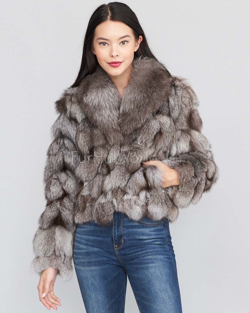 Sporty Fox Fur Jacket - Silver Indigo