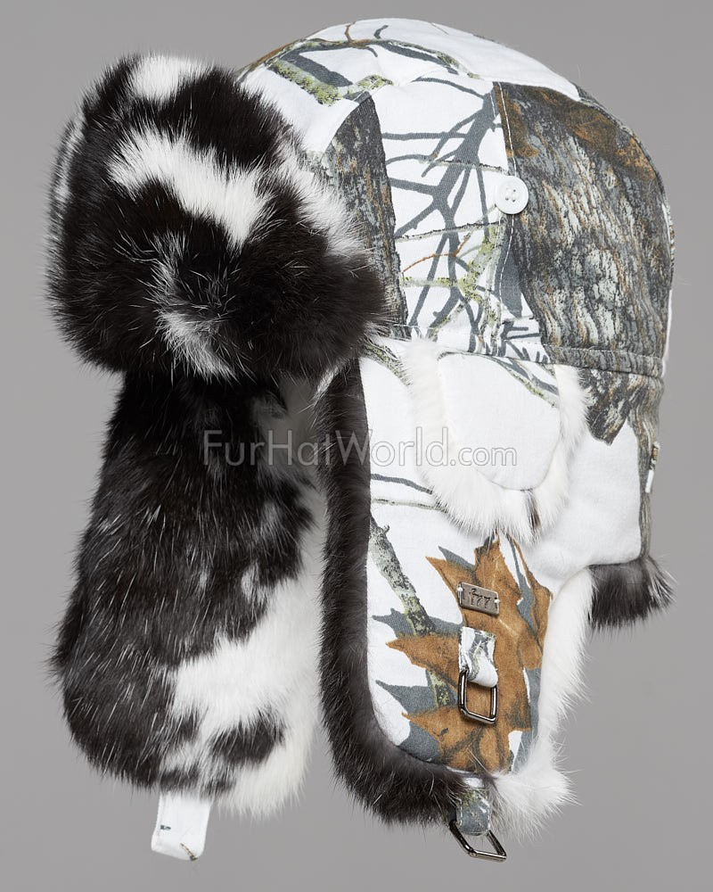 Spotted Camo Print Rabbit Trapper Hat for Men