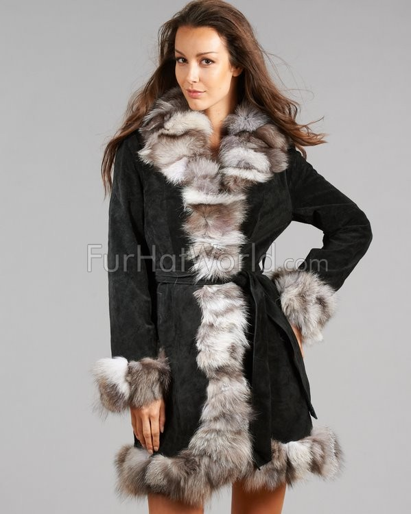 Suede Leather Coat with Silver Fox Fur Trim