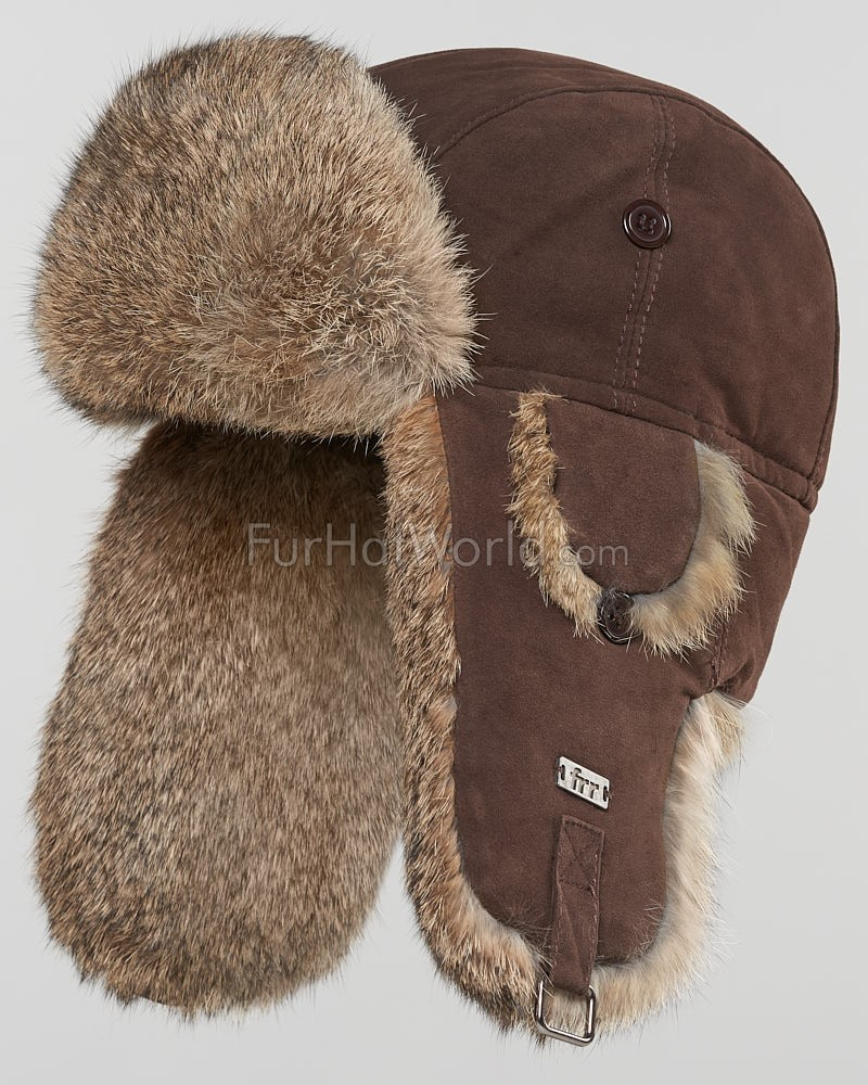 Suede Leather Rabbit Fur Aviator Hat - Brown
