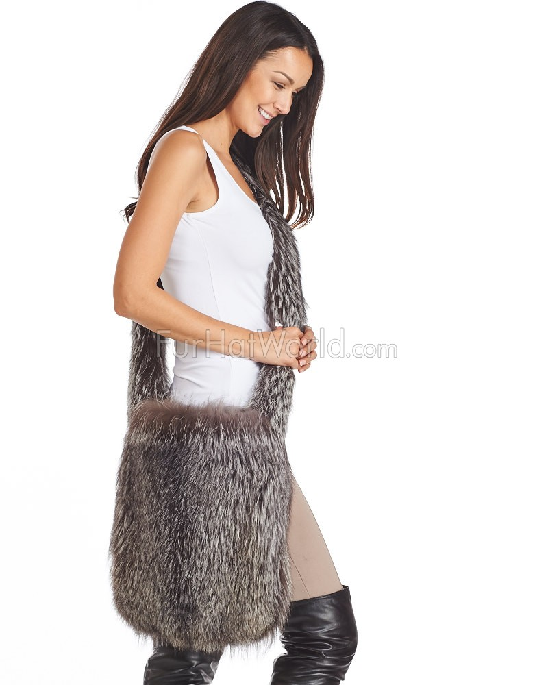Summer Silver Fox Fur Sling Bag