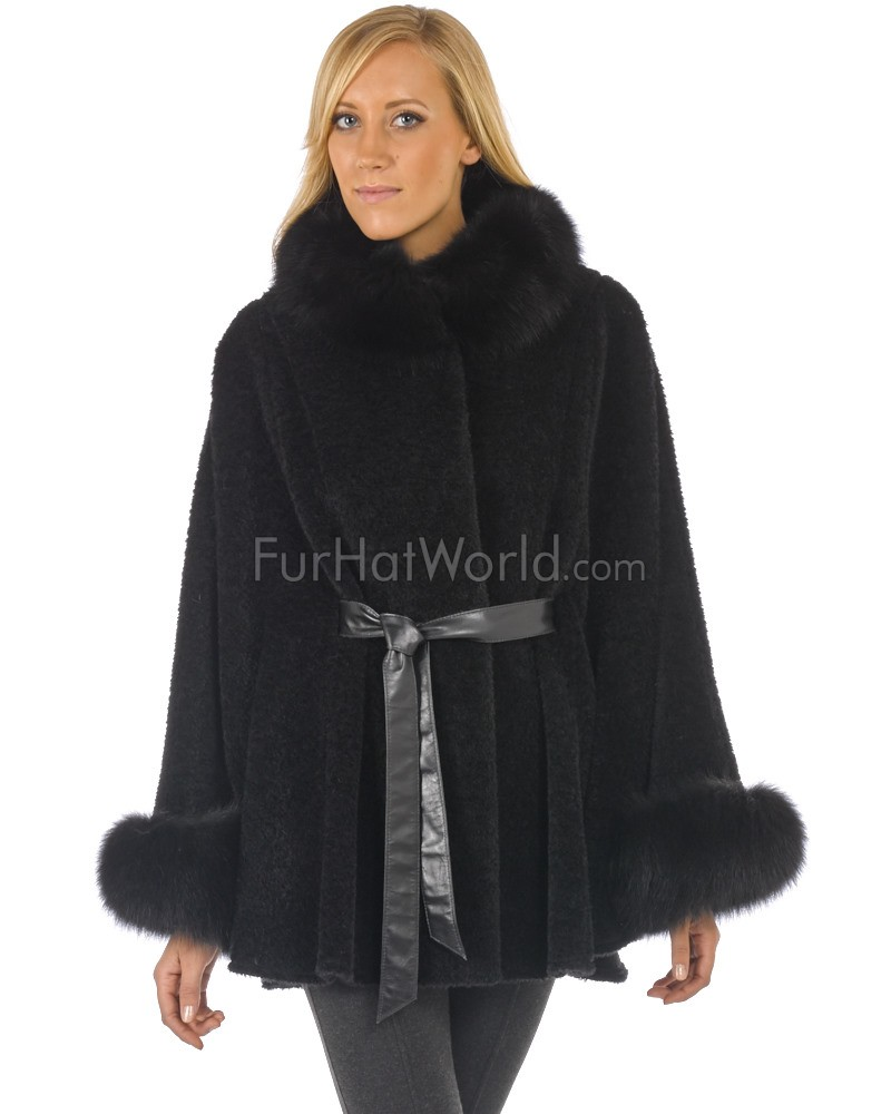 Paris Alpaca Cape with Fox Fur Collar and Cuffs in Noir