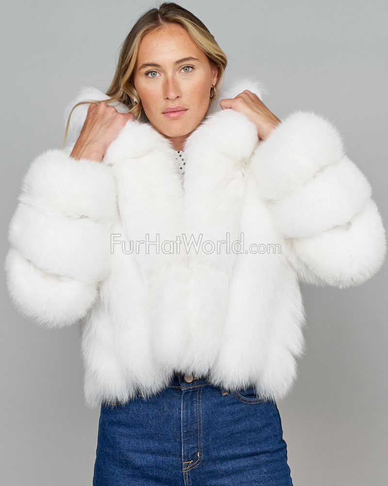 Diva White Fox Fur Jacket with Vertical Panels