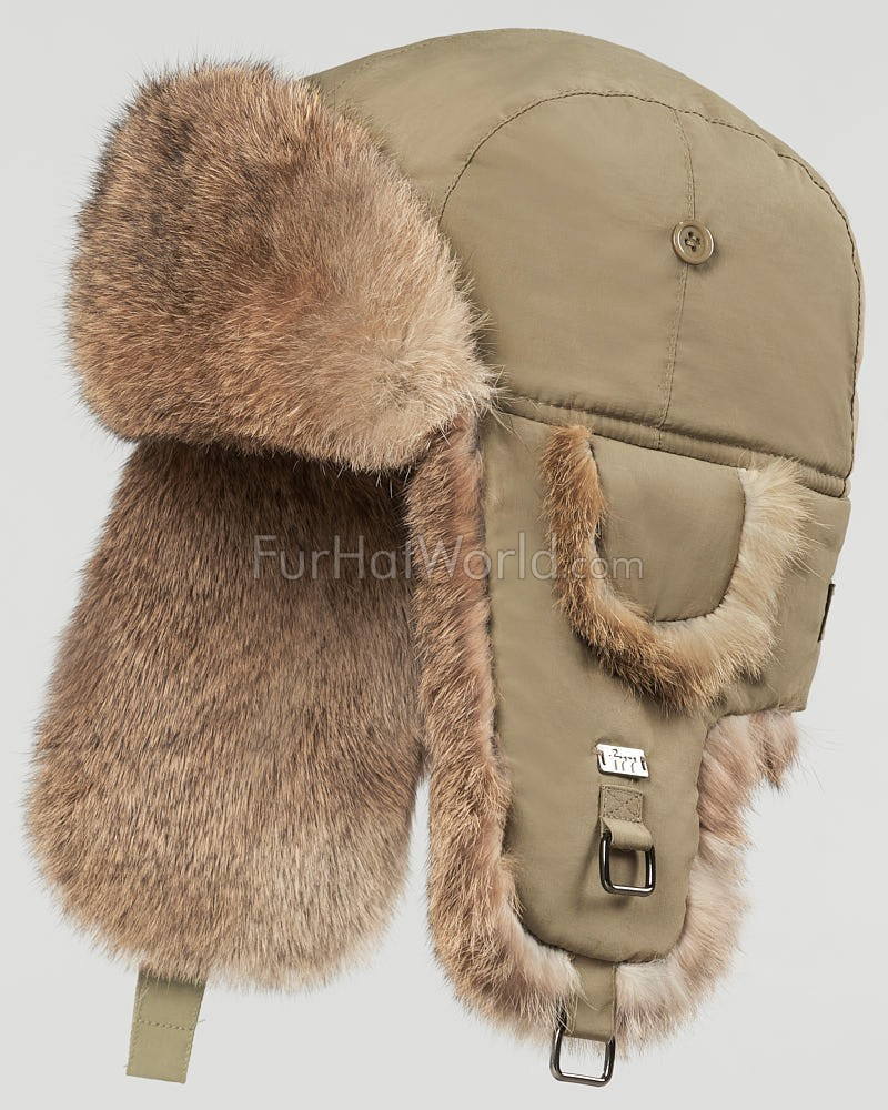 Taupe B-52 Aviator Hat with Brown Rabbit Fur for Men