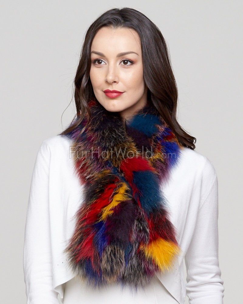Teresa Knit Fox Fur Pull Through Scarf in Multi